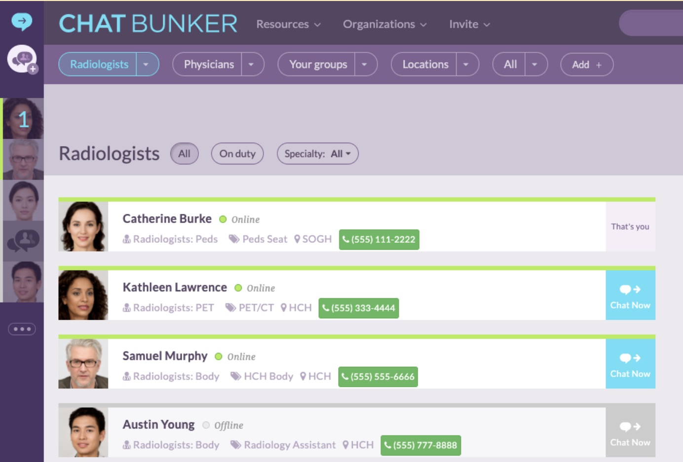 Screenshot of ChatBunker app User Directory